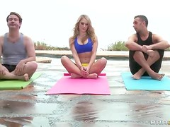 Erotic Yoga With The Hot Blonde  Amber Ashlee And Her Round tits