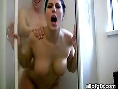 Shower Fucking With Hot Brunette And Her Boyfriend