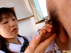 Loads Of Cum On This Asian School Girl's Hands After CFNM Handjob