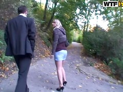 Tugjob - Outdoor Threesome With One Slutty Blonde Babes