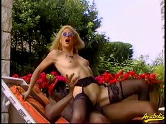 80's slut getting a big black cock in the ass