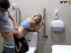 Public Bathroom Fucking With A Hot Blonde
