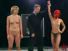 Blonde Girl Gets Fucked With A Strapon In The Middle Of A Wrestling Ring