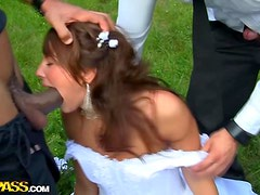 Outdoor Gangbang With A Wedding's Bride's Maid