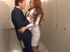 Asian Sex Bomb Sucks and Titty Fucks Before Riding a Cock In The Office