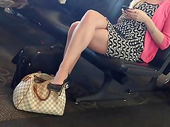 candid legs at airport