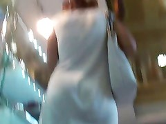 Upskirt - Teen white dress and white thong of course !