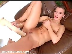 Ultra tight brunette Suzie Carina gaped by brutal dildo