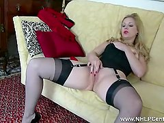 Blonde Aston Wilde tease in vintage lingerie heels nylon strip panties wank