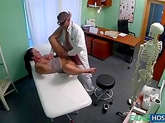 Doctor Fucks Dirty Nympho milf while her husband waits outside