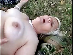 Amateur old lesbians having fun outdoor. Great !