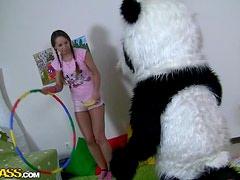 Panda Love With Brunette And Her Tight Pussy