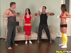 Naughty Girls Have A Foursome With Their Exercise Instructors