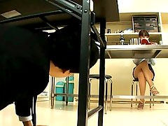 Kirara Kurokawa upskirt video in class while horny student looks