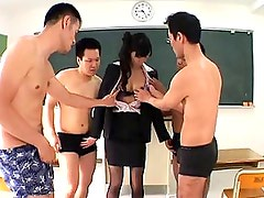 Japanese AV Model is a hot teacher teased by a few students
