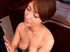 Kokomi Sakura in fishnets and sucking his hard cock