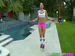 Latina babe Adriana Luna gets fucked hard after her workout