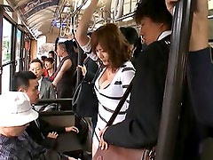Yuma Asami riding the bus and having her minidress lifted up