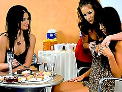 Horny Lesbian Foursome With Hot Babes And Sticky Food