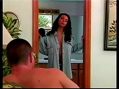 A brunette slut with perfect hanging tits gets her pussy drilled by a stud