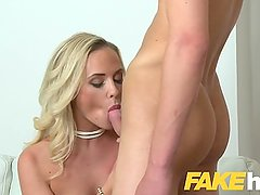 Female Agent Studs athletic body makes sexy blonde agent cock hungry