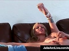 Beautiful Busty Milf Julia Ann Bangs Her Box w/ Glass Dildo!