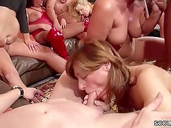 Real German AO Amateur Swinger MILF Party