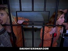 DaughterSwap - Two Fathers and Teen Daughters Fuck In Jail Cell