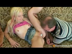 Kinky blonde enjoys foreplay with older man using whipped cream
