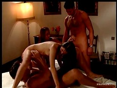 Blindfolded babes in scorching hot foursome