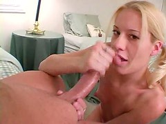 Pigtailed blonde strokes her mans big dick