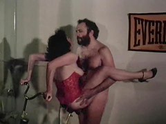 Retro milf in sexy corset rides her lovers cock