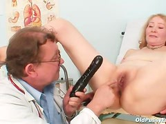 Old lady and her doctor have exam fun