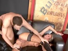 Heavily tattooed blonde vixen rides big cock