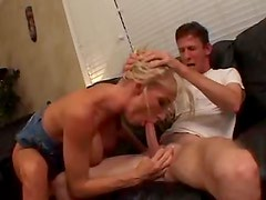 BJ and titjob from horny bimbo slut
