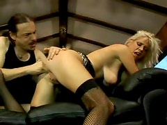 Rough sex with a blonde whore