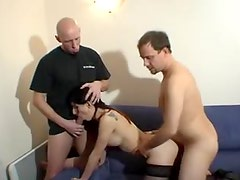 French slut fucked in the ass in threesome