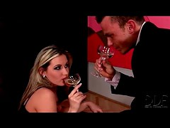 Drinking champagne and sucking his cock