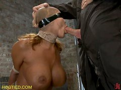 Blindoflded and Tied Up Gal Sucking Cock and Getting Sexual Torture