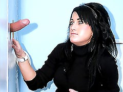 Brunette Is Stunned By The Size Of A Cock In A Gloryhole