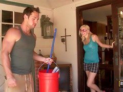 Horny Blonde Rylie Richman Rides The Pool Guy's Hard Cock