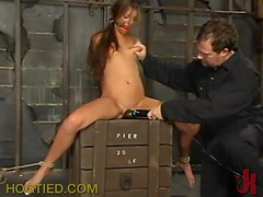 Fingering and Toying a Tied Up Girl's Pussy