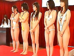 Japanese AV Model beauty contestant masturbating for the judges