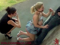 Horny Blonde Gives A Great Handjob As She's Getting BDSM