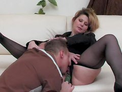 Black pantyhose girl fucked in the cunt