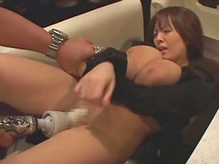 Shaved Japanese pussy creams from toy