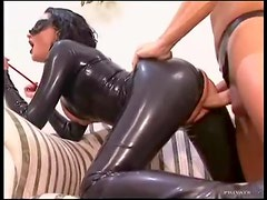 Full latex catsuit on slut taking dick