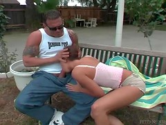 He turns her into his cocksucker outdoors