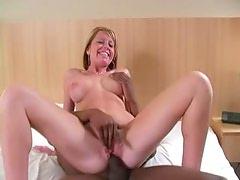 Fake tits blonde goes black in hotel room