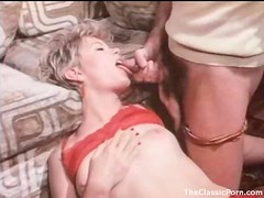 Hot slut in stockings and garters blows him
